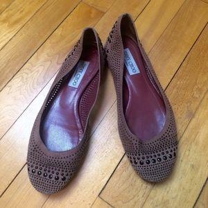 Jimmy Choo Shoes - Jimmy Choo Blush Suede Studded Ballerina Flats
